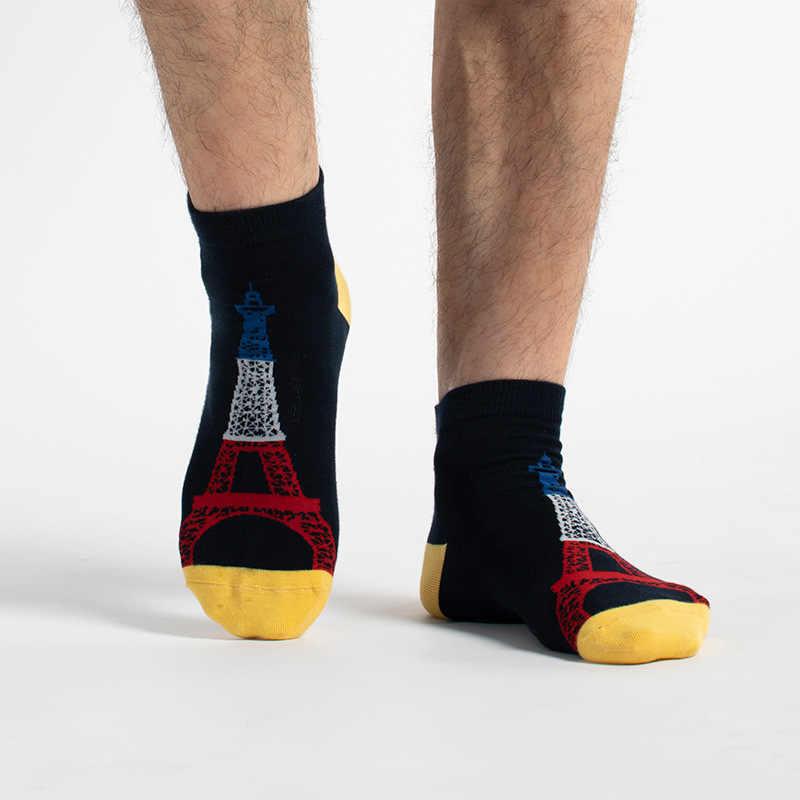מזח פולו גרבי גברים שבוע אופנה נקודות נוף מבני ציון דפוס כותנה גרביים מקרית חידוש מצחיק גברים גרביים
