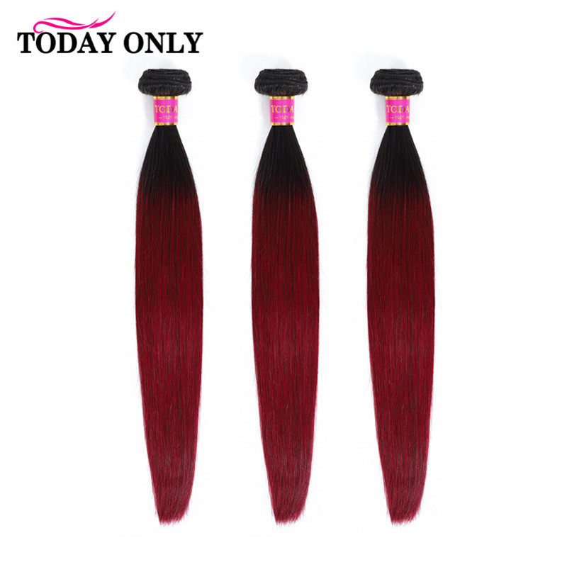 TODAY ONLY Brazilian Hair Weave 3/4 Bundles Burgundy Straight Hair Bundles Ombre Human Hair Bundles 1b 99J Hair Extension Remy