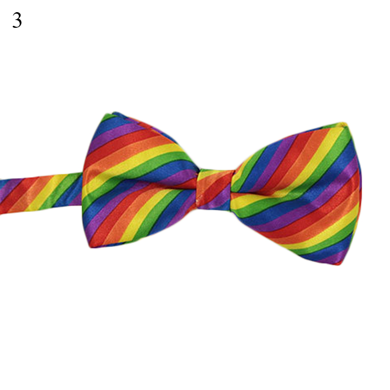 Colorful Rainbow Striped Bowties For Men Women Butterfly Cravat Bowtie Fashion Wedding Party Leisure Gravatas Tuxedo Bow Ties
