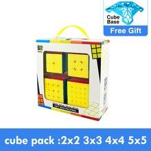 4 pièces ensemble Cubing vitesse Bundle Moyu MofangJiaoshi 2x2 3x3 4x4 5x5 Meilong Qiyi Cube magique emballage jouets éducatifs pour les enfants