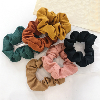 New 2019 Women Solid Color skranchy Elastic Hair Bands Korean Sweet Simple 6 Colors Hair Scrunchie Girls Hair Accessories image