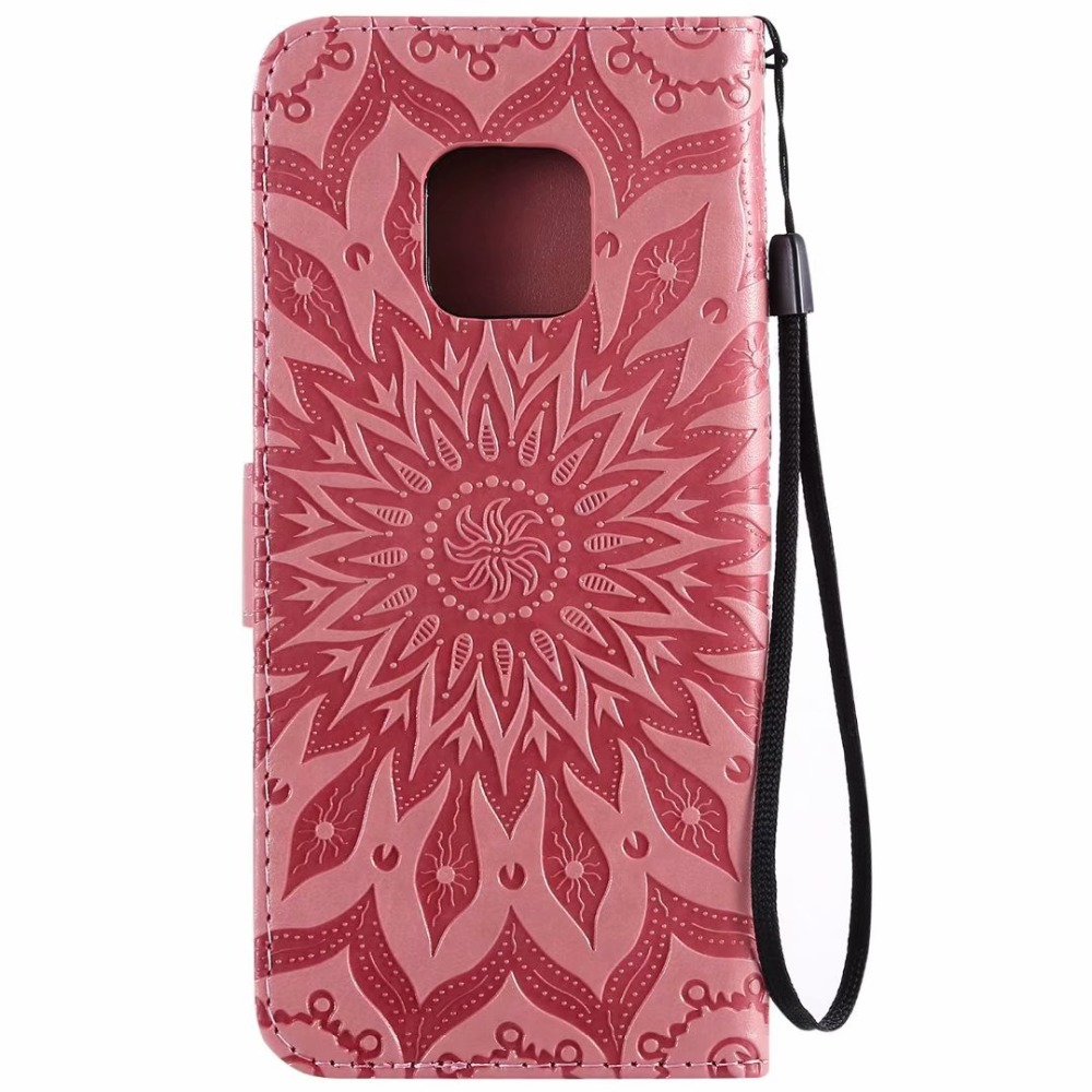 100pcs/lot Retro Embossed sunflower leather Wallet case For Huawei Mate 20 Pro lite X case TPU+PU cover case coque Card Holder - 3