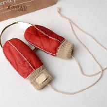 Boys And Girls Winter Gloves Warm Fur Sheepskin Gloves Full Figer Genuine Leather Fashion Gloves Five Fingers Gloves cheap NoEnName_Null Children Unisex Solid Opera Gloves Mittens GT-Y5*
