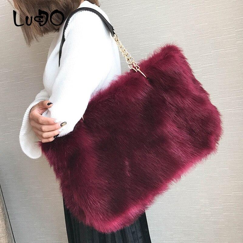 Hiver fausse fourrure sacs à main de luxe femmes Sac à main grande capacité Sac fourre-tout décontracté mode sacs à bandoulière concepteur Bolsa Feminina Sac