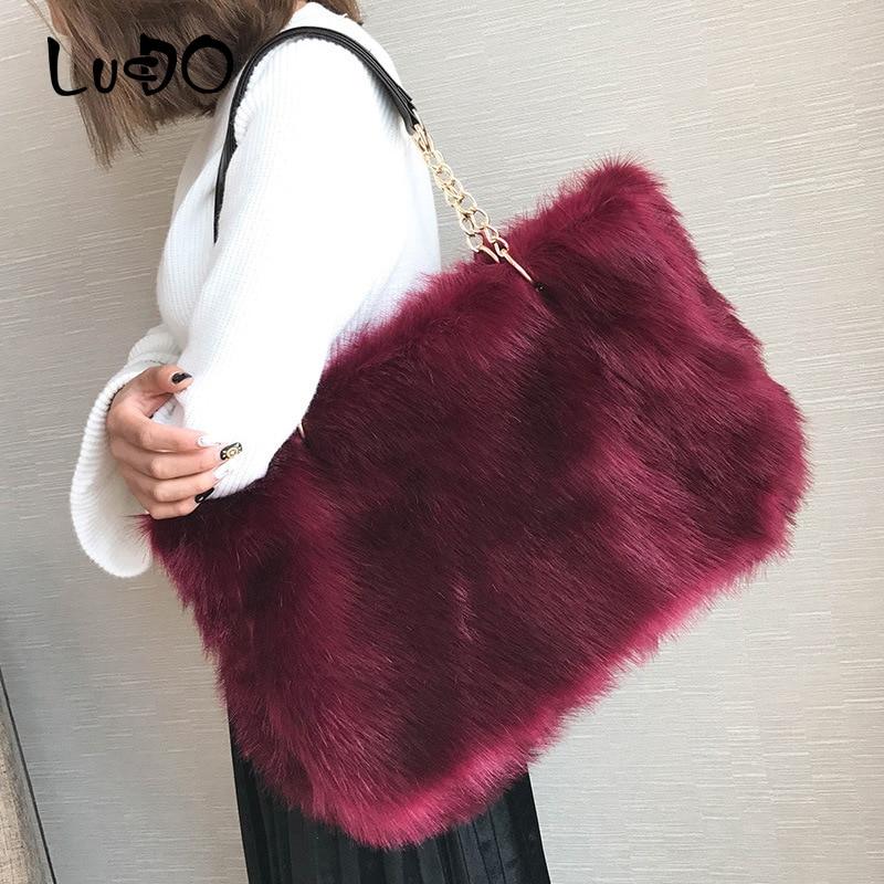 Winter Faux Fur Luxury Handbags Women Handbag Large Capacity Casual Tote Bag Fashion Shoulder Bags Designer Bolsa Feminina Sac