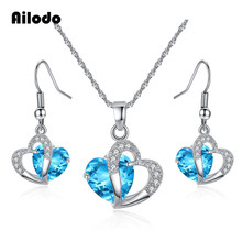 Ailodo Luxury Blue Purple CZ Jewelry Set For Women Fashion Double Heart Crystal Party Wedding Necklace Earrings L376