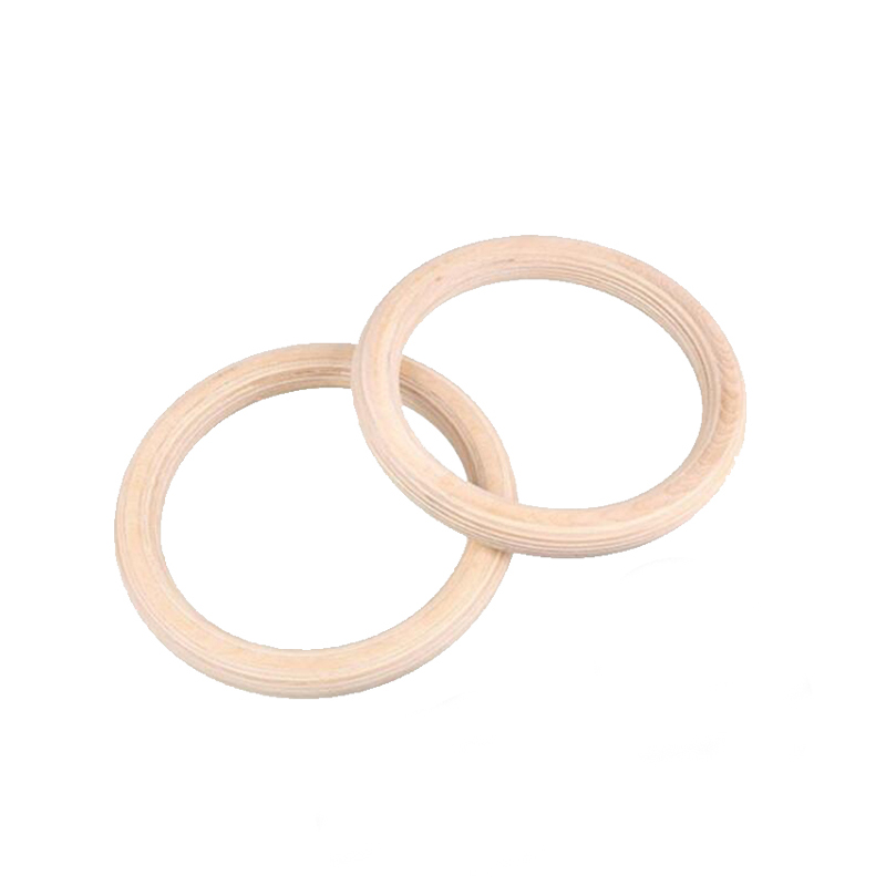 2Pcs/Pairs Wood Wooden Ring Portable Gymnastics Rings Gym Shoulder Strength Home Fitness Training Equipment