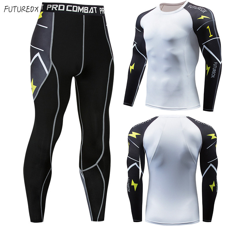NEW Men's Thermal Underwear Suit 2 Piece Tracksuit Men Compression Clothing Rashgard Male Sport Thermal Underwear Base Layer