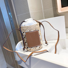 Ladies straw woven bucket bag Ladies portable shopping bag Drum bag Pen holder bag Fashionable all-match water cup set