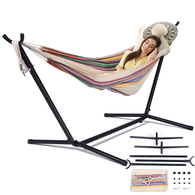 Hammock With Stand Swinging Chair Bed Travel Camping Home Garden Hanging Bed Hunting Sleeping Swing Indoor Outdoor Furniture 1