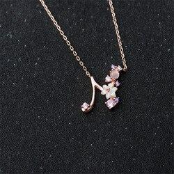 Розовый/фиолетовый кубический циркон Алфавит ожерелье натуральный корпус цветок A-Z письмо кулон ожерелье сверкающие 26 первоначальных ожер...