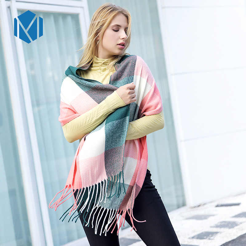 Autumn Winter Cashmere Scarves Shawls For Women/Girls Lattice Solid Color Tassel Scarf Kitted Warm Soft 190*35cm Lady Gifts