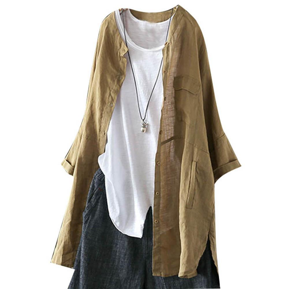 Fashion Women Loose Solid Color Button up Round Neck Long Sleeve T Shirt Blouse Vintage fashion cotton shirt Coat