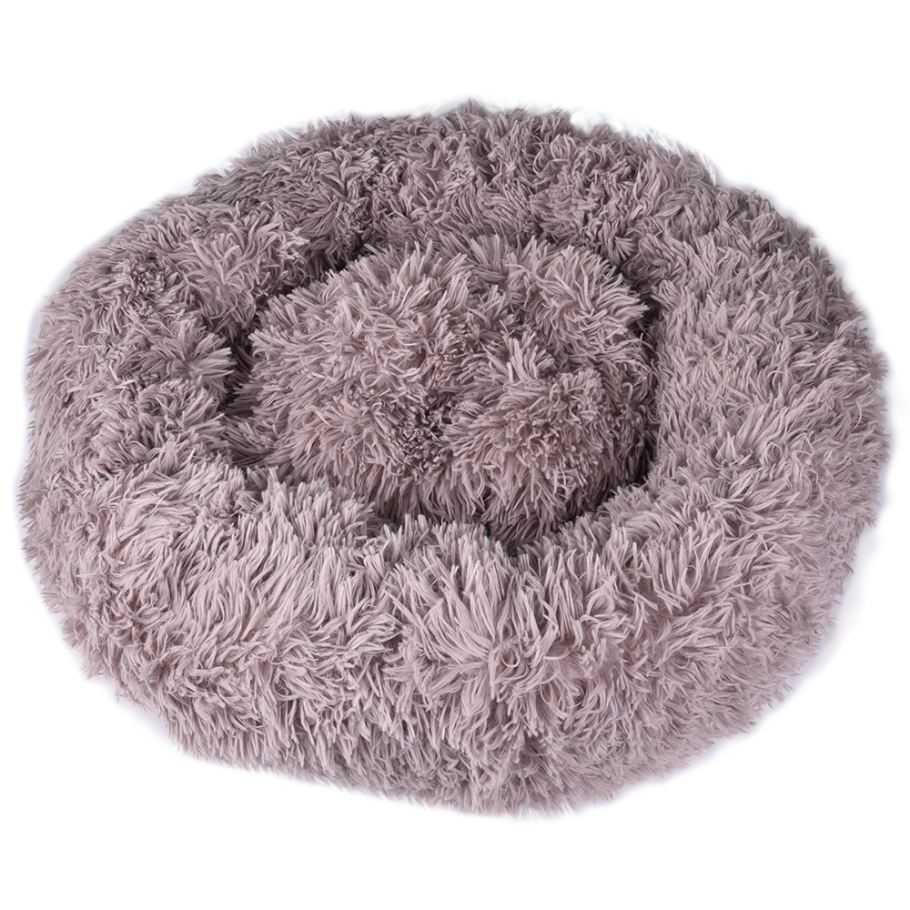 Round Plush Pet Bed House Soft Long Plush Kennel Bed For Small Dogs Cats Nest Winter Warm Sleeping Bed Puppy Cushion Mat