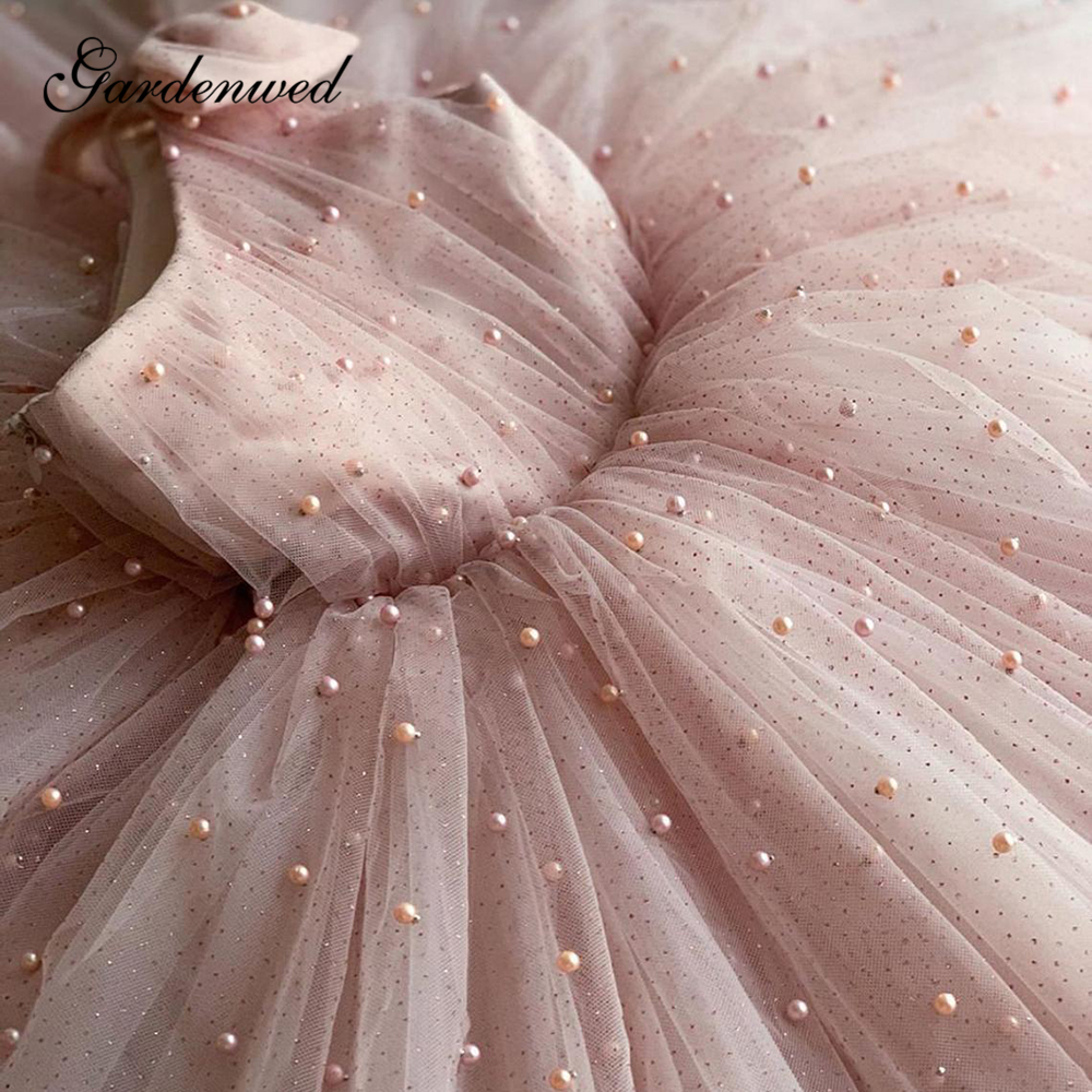 Glitter Pink Princess Flower Girl Dresses Pearls Ball Gown Tulle Girls Wedding Party Dresses One Shoulder Bow Communion Dress