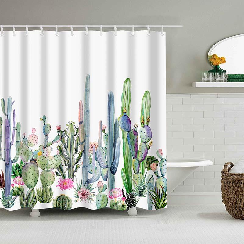 Тропический кактус, занавеска для душа, полиэфирная ткань, занавеска для ванной комнаты, украшения для ванной комнаты, мульти-размер, занавеска для душа с принтом s - Цвет: 6