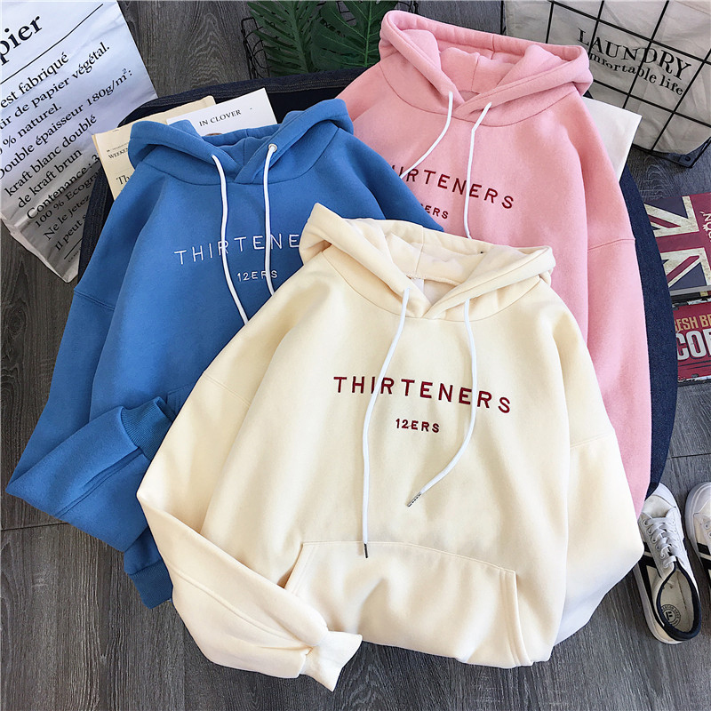 2019 Autumn Winter New Fashion Plus Velvet Hooded Sweatshirt Women Letter Print Harajuku Long Sleeve Loose Pullover Women Hoodie