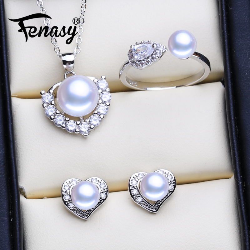 FENASY Natural Freshwater Pearl Jewelry Sets For Women Classic Cute Stud Earrings Fashion Heart Pendant Necklace Party Rings