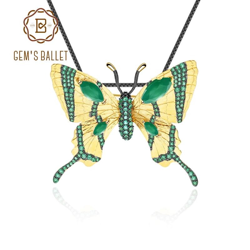 Golden-Brooch Butterfly High-Jewelry 925-Sterling-Silver Green Agate Women Pendant Gem's-Ballet
