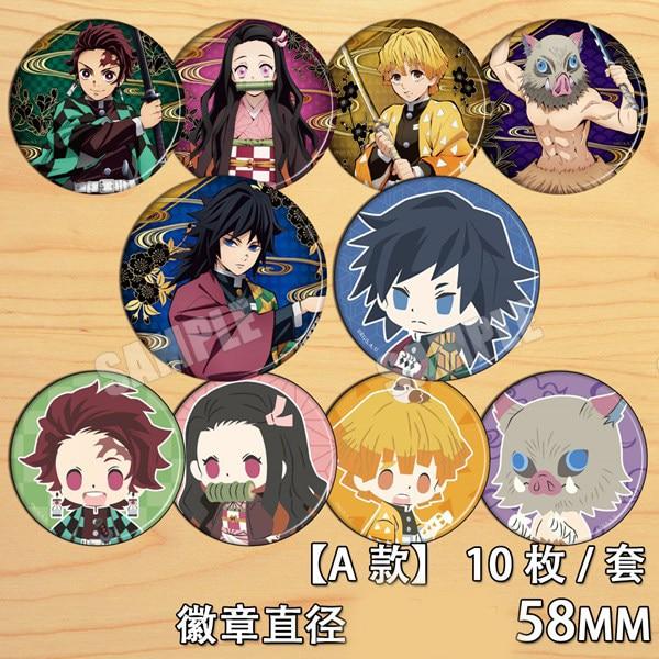 Anime Demon Slayer: Kimetsu No Yaiba Tanjirou Nezuko Agatsuma Zenitsu Cosplay Bedge Cartoon Bags Badge Button Brooch Pin Gift