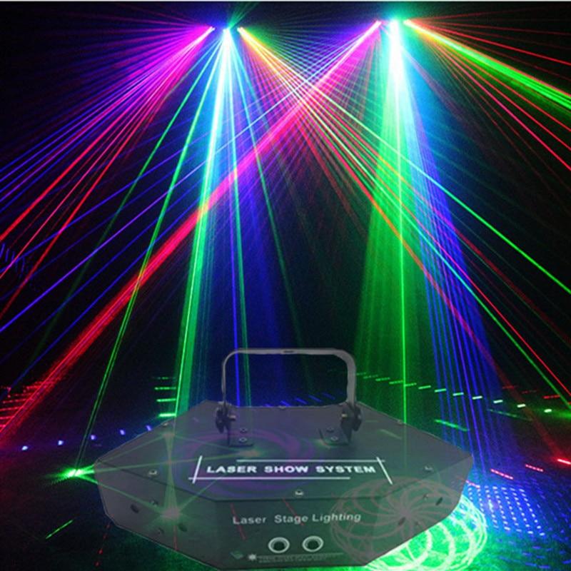 6 Ogen Laser Scan Lichten DMX512 Rgb Full Color Laser Licht Lineaire + Image Effect Podium Verlichting 6 Lens Scanner Laser Dj A