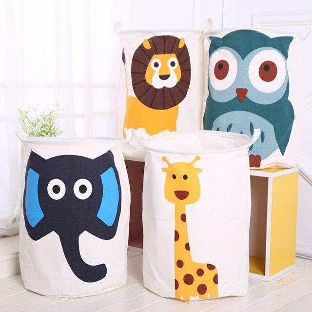Household Cartoon Animal Folding Dirty Cloth Washing Laundry Basket Large Storage Barrel For Baby Toys Sundries Room Organizer