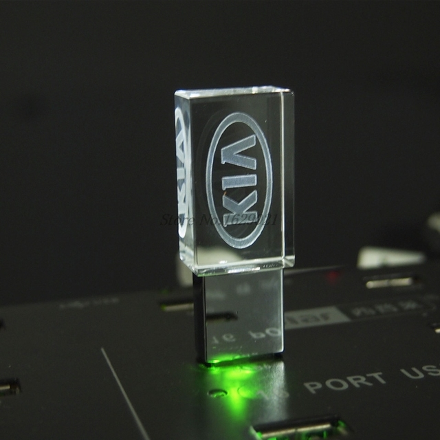128GB Crystal USB Pendrive 2.0 with Car Logo KIA Flash Drive 4GB 8GB 16GB 32GB USB Drive 2.0 Memory Stick LED Photography Gifts 4