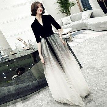 Evening Gowns Black Top A Line Floor Length Women Party Dresses V-Neck Half Sleeve Formal Dress 2020 Elegant Robe De Soiree K161