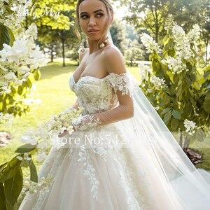 Image 4 - Büyüleyici sevgiliye boyun tam kollu gelin A Line düğün elbisesi 2020 lüks boncuklu aplikler mahkemesi tren prenses gelinlikler