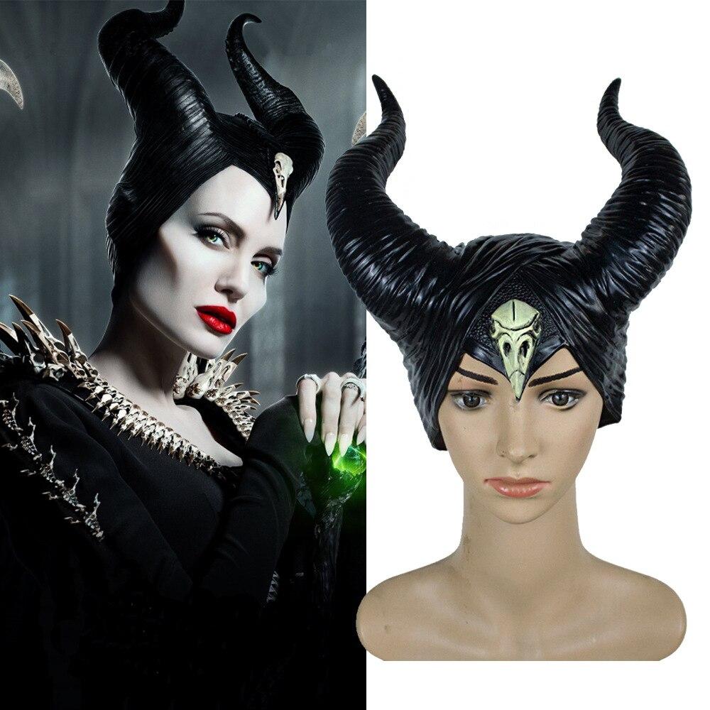 Halloween New Style Maleficent:Mistress Of Evil Headwear Mask Cosplay Props Unisex Halloween Black Queen Headgear Horns Hat