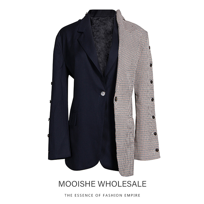 Индивидуальный клетчатый пиджак 2019 Ранняя осень новый чувство строчка маленький костюм женский поддельный Двухсекционный пиджак