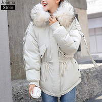 Winter New Women Hooded Faux Fur Collar Cotton Clothing Short Slim Bat Type Thick Warm Jacket Oversize Casual Fluffy Coat Female