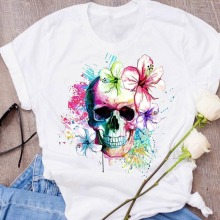 Women Graphic Flower Skull Watercolor Cute Print Halloween Clothing Clothes Lady Tees Tops Female T Shirt Womens T-Shirt