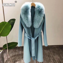 Korea style female x-long loose wool trench coat with real fox fur collar soft double-side wool outwear with belt for women