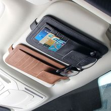 Car Auto Sun Visor Point Pocket Organizer Pouch Bag Card Glasses Storage Holder Sunglasses Holder Car-styling Car Accessories