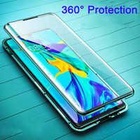 360 en la A 20 30 50 70 funda de adsorción magnética para Samsung Galaxy A20 A30 A50 A70 S10 Plus S10e cubierta frontal + trasera de vidrio templado