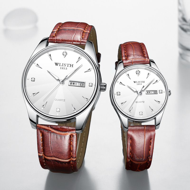 Couple WatchesThin Student Watch Men's Waterproof Fashionable Quartz Watch High Quality Women Watch With Black Band  Couple Gift
