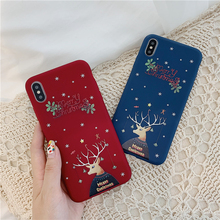 Fashion Merry Christmas Elk Case For iPhone X XR XS Max 11 Pro Max 7 8 6 6S Plus Silicone Animals Phone Case Soft TPU Back Cover rugged tpu case for iphone 11 pro max case iphone x xs xr 6 6s plus 7 plus 8 plus iphone11 11pro cloth back cover elk deer shell