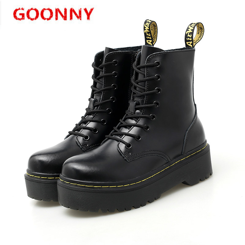 Boots Women High Quality Genuine Leather Shoes Winter British Style Martin Boots Ankle Boots Men Punk Motorcycle Shoes Platforms