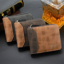 men's leather wallet Casual  Zipper Men Wallets Card Holder Small Wallet Male Synthetic Leather Purse Coin Purse cartera hombre