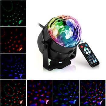 Oświetlenie dyskotekowe Led muzyczny aktywowany światła sceniczne Mini obrotowy projektor laserowy lampa świąteczna Show efekt z kontrolą tanie i dobre opinie Dongdahua Stage lighting effect 220 v Domowej rozrywki AC+ABS Sound Active AUTO remote control US EU AU UK Plug USB