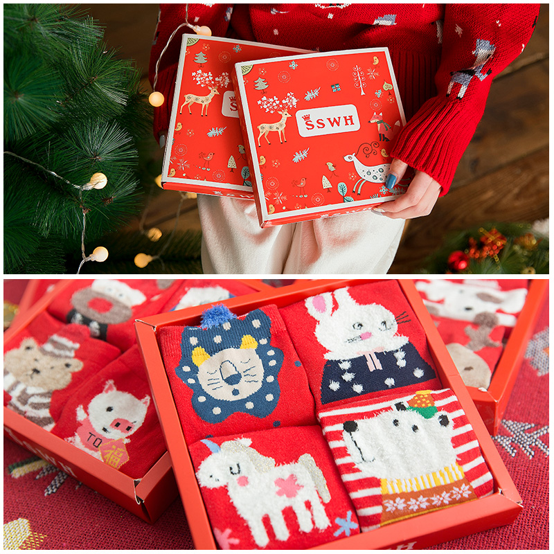 OLE Women's Cotton Red Носки Towel Chaussettes Winter Thick Tube Cute Autumn And Winter Thick Christmas Calzini Gift Box