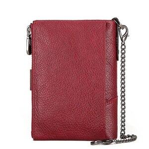 Image 3 - KAVIS hakiki deri ücretsiz gravür cüzdan kadınlar çılgın at cüzdan bozuk para cüzdanı kısa kadın para çanta Rfid cüzdan bayan Perse