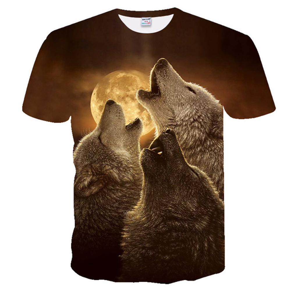 Summer T Shirt Men Streetwear Round Neck Short Sleeve Tees Tops Funny Animal Male Clothes Casual Wolf 3D Print Tshirt Clothing