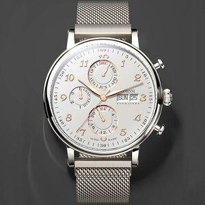 Image 4 - Marque de luxe suisse LOBINNI hommes montres calendrier perpétuel Auto mécanique hommes horloge saphir cuir relogio L13019 9