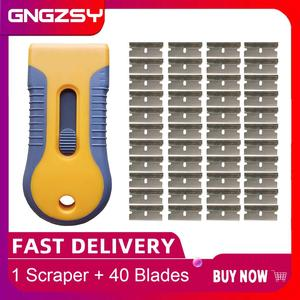Image 1 - CNGZSY Window Cleaner Glue Scraper Car Paint Scratch Remover Ceramic Glass Oven Retractable Spatula with 40pcs Blades E16+40M