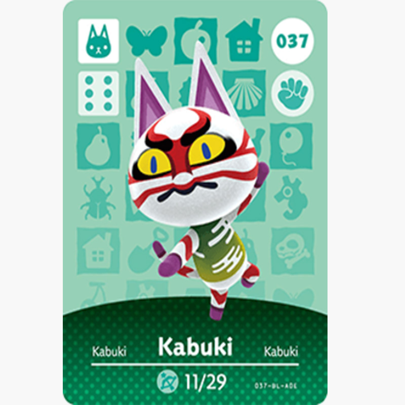 037 Kabuki Animal Crossing Card Animal Crossing Figures Switch NS 3DS Amiibo Cards Villager New Horizons Amiibo Card Gift