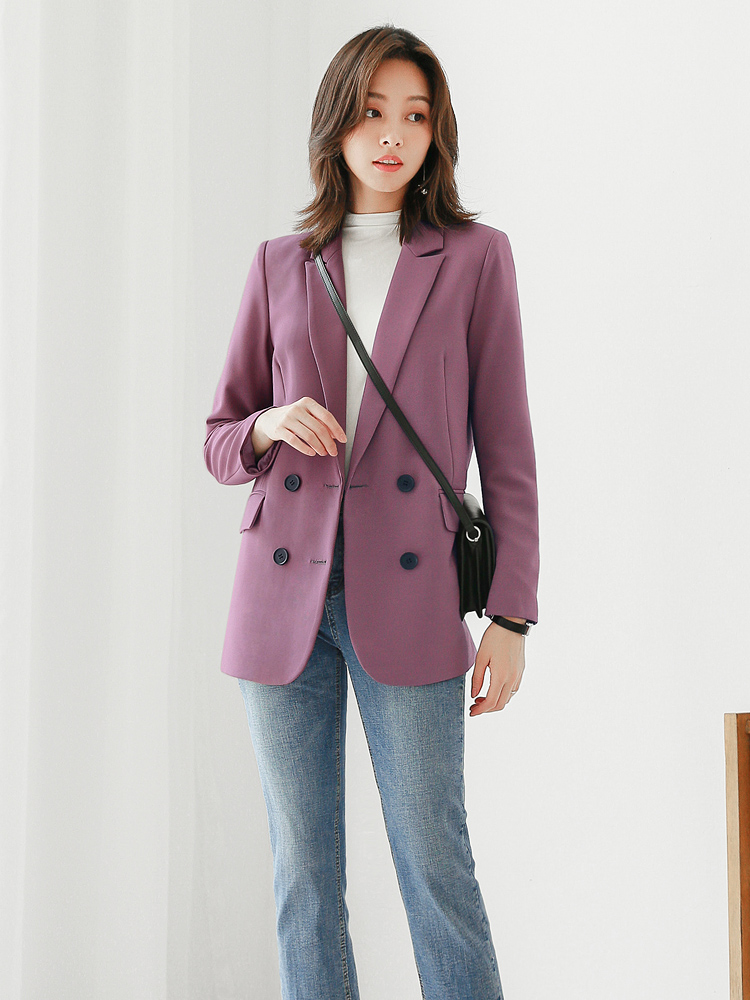 Loose Stylish Ladies Blazer Casual Solid Purple Simple Suit Jacket Vintage Abrigos Korean Party Women Jacket Large Size MM60NXZ