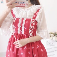 Japanese style Soft Girl Lolita Dress Base Lolita Underwear Lace Bell Sleeve Chiffon Shirt Lining Tops Women's Summer