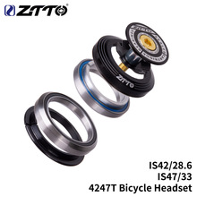 ZTTO 4247T Bicycle Bearing Headset 42mm 47mm 1 1/8-1 1/4 1.25 inch 33mm Tapered Tube fork IS42 IS47 Integrated Angular Contact zokol bearing 32213 7513e tapered roller bearing 65 120 33mm